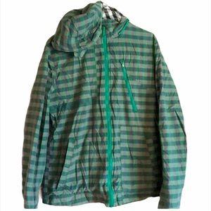 Volcom green plaid jacket Medium pockets  hood